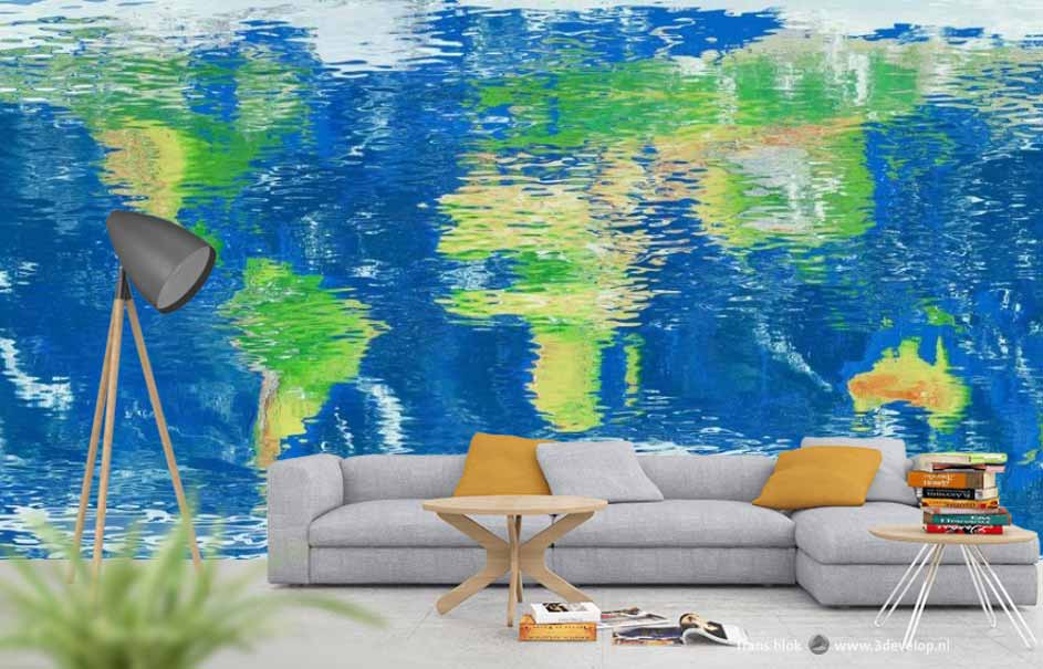 Living room with the water mirror world map on wallpaper