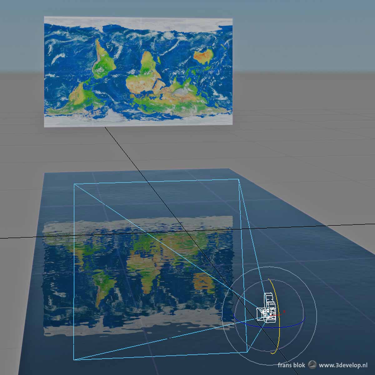 Setup with a camera and a slightly undulating reflective water surface in 3ds max to create a wavy world map