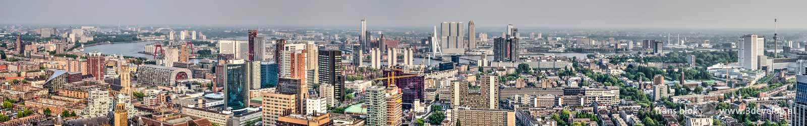Panorama of downtown Rotterdam, composed of zes photo's made from the Delftse Poort building