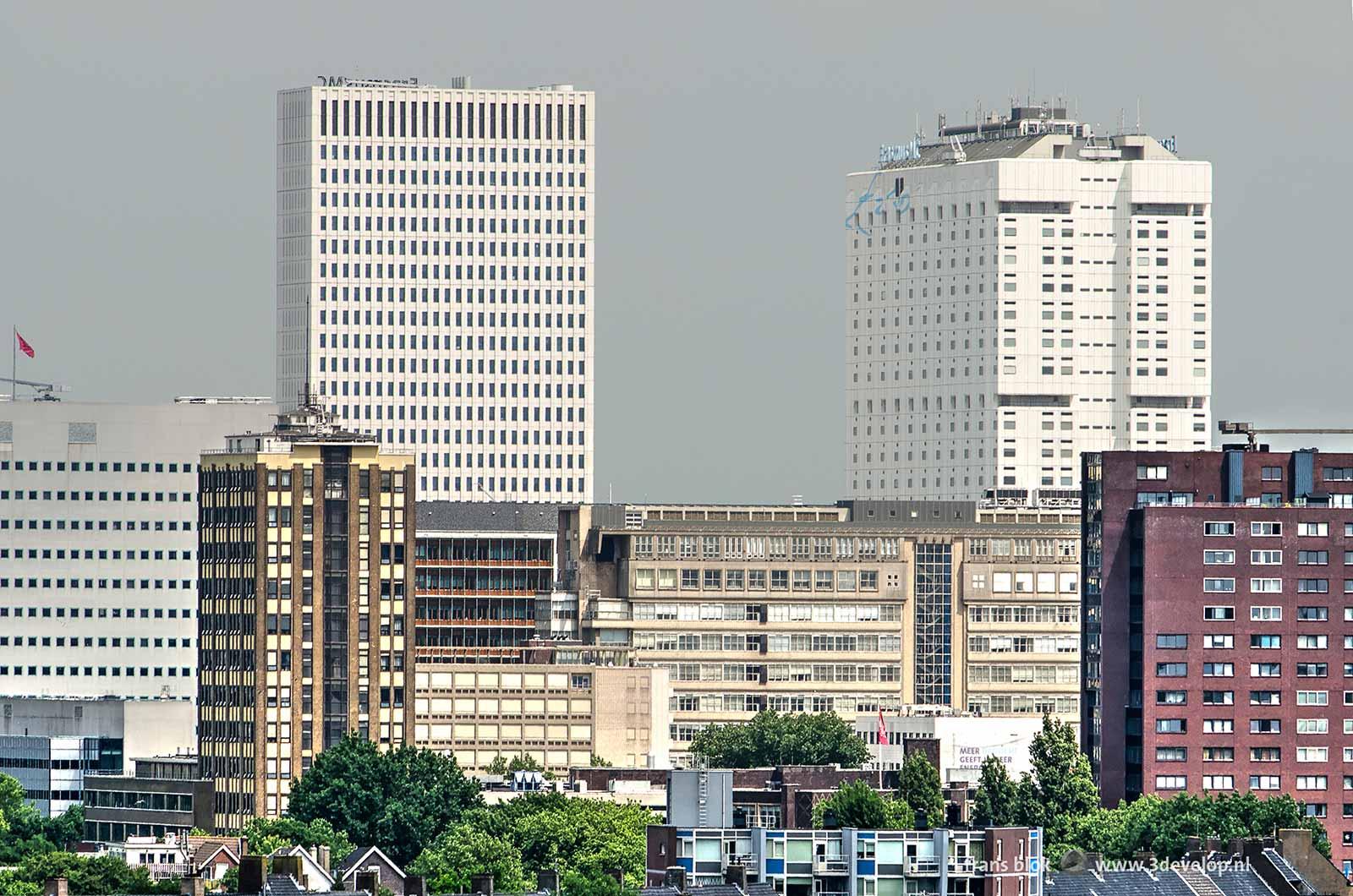 Het Erasmus MC in Rotterdam met daarvoor onder andere de voormalige GEB-toren