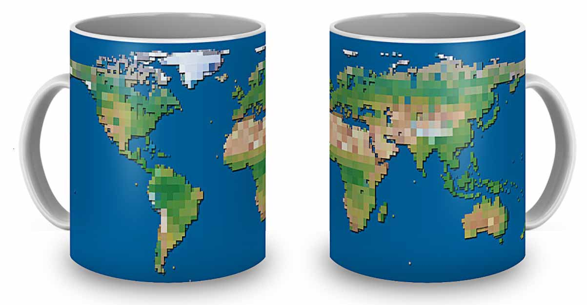 The World Block Map, printed on two coffee mugs