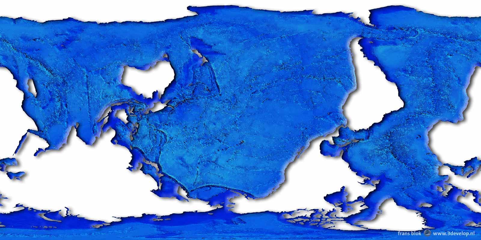 Een wereldkaart zoals dolfijnen 'm zouden maken: een netwerk van oceanen en zeen met wat terra incognita er in; de Grote Oceaan in het midden, de Indische en Atlantische Oceaan terzijde