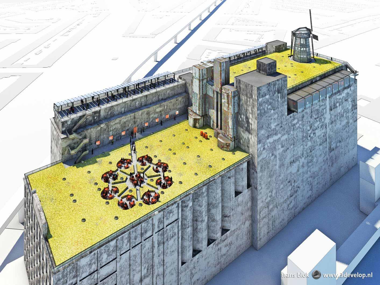 Artist impression van een plan voor het dak van de Maassilo in Rotterdam, met een graanvelden, een glazen korenmolen, een graancirkel en een pannenkoekenhuis