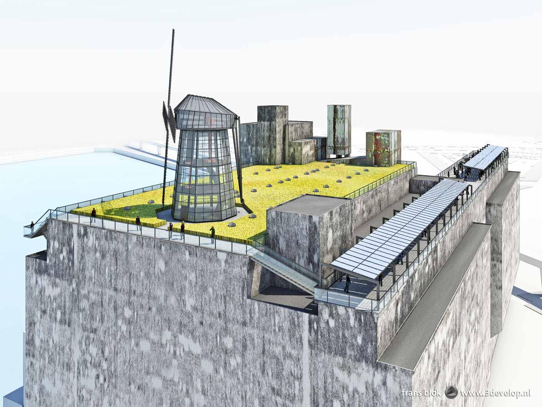 Artist impression van een plan voor het dak van de Maassilo in Rotterdam, met een korenveld, een glazen molen, een wandelpromenade en zonnepanelen
