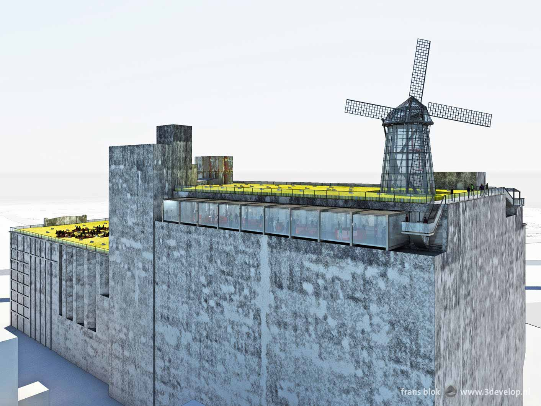 Artist impression van een plan voor het dak van de Maassilo in Rotterdam, met korenvelden, een molen en een skybox