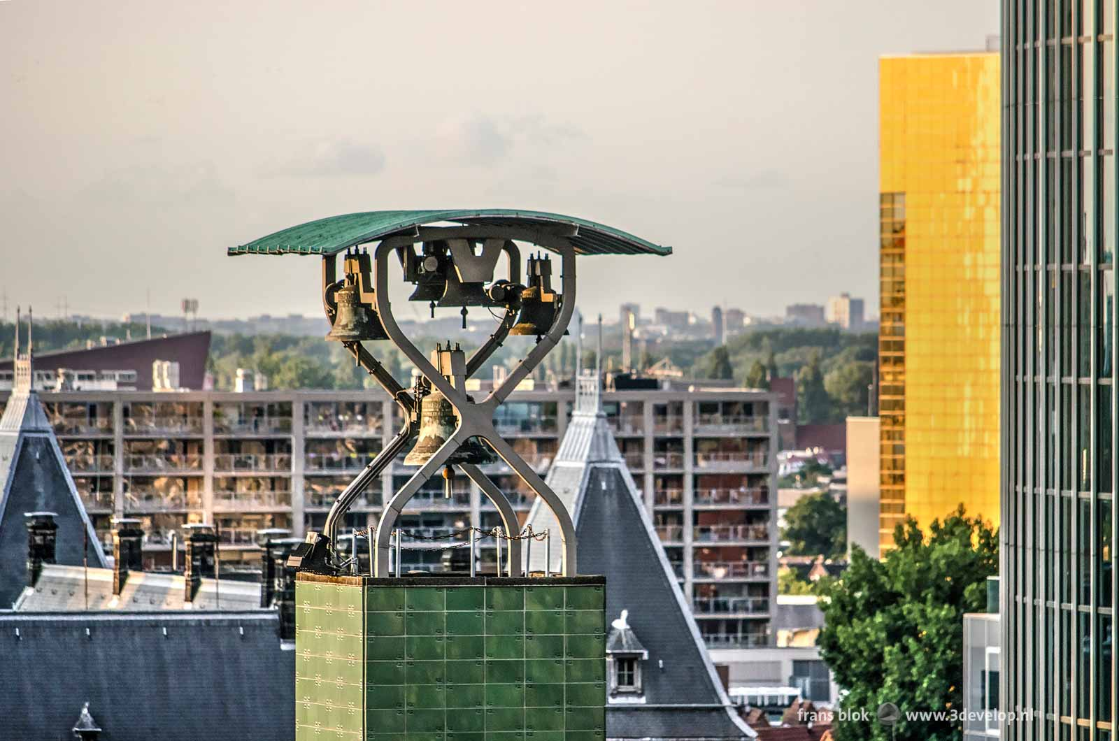 Close-up of the bells in the clock tower of Beurs WTC in Rotterdam