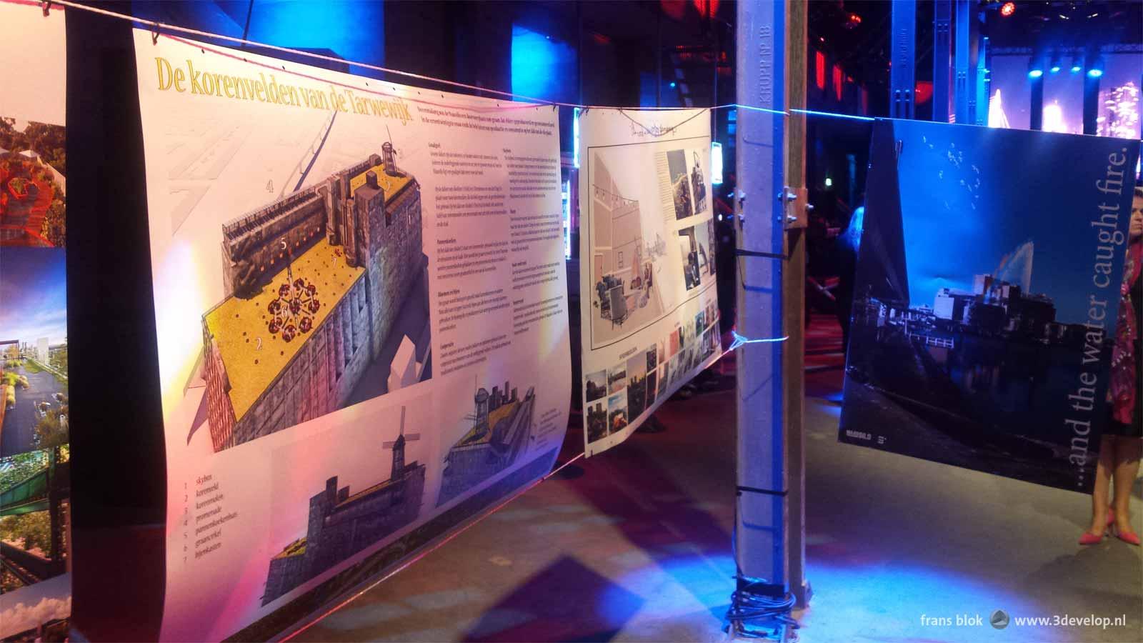 Tentoonstelling van de inzendingen van de prijsvraag voor het dak en de skybox van de Maassilo, in de ruimte waar doorgaans discotheek Now & Wow gevestigd is