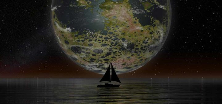 Atmospheric nocturnal picture of a terraformed Moon, low above the horizon, that shines its green-yellow light on a slightly undulating water surface with a sailboat on it