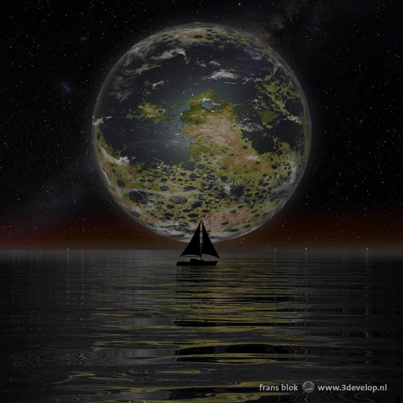 Sfeervol nachtelijk plaatje van een geterraformde Maan, laag boven de horizon, die zijn groengele licht laat schijnen op een licht golvende watervlakte met een zeilboot