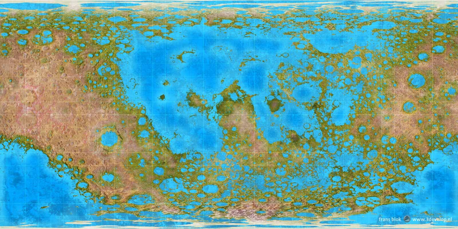 Hypothetische kaart van de Maan, geterraformd, met meren, zeeën en oerwouden