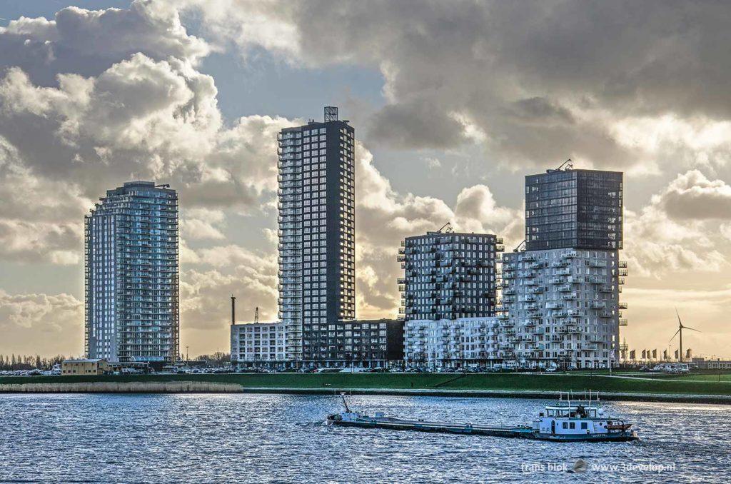 Uitzicht vanaf Hoogvliet op de recente hoogbouw in Spijkenisse aan de overkant van de Oude Maas