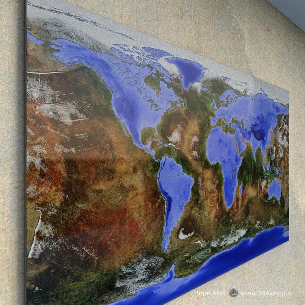 Kaart van de Omgekeerde Wereld, een fantasiewereld waarin oceanen en continenten verwisseld zijn, waar land water is en water land, als wanddecoratie aan een virtuele muur