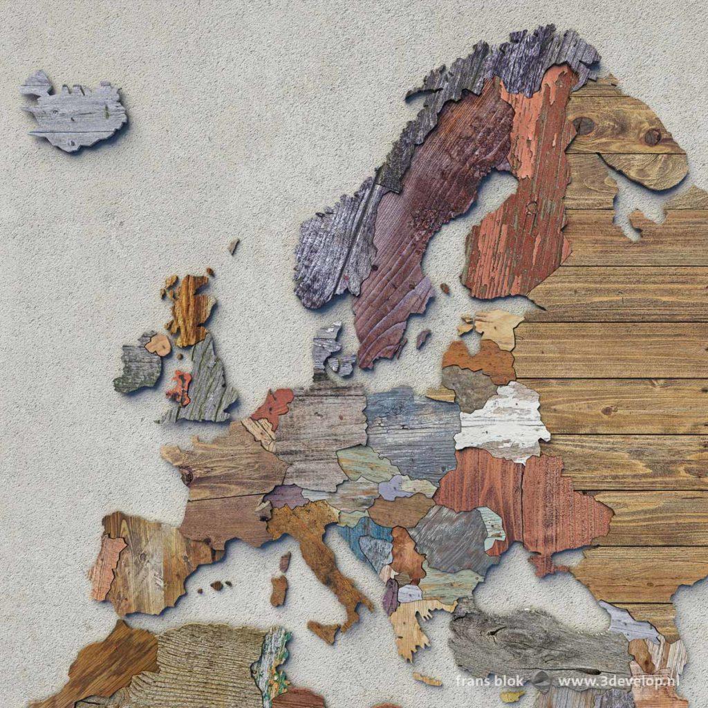 De digitale sloophoutkaart van Europa, opgebouwd uit 54 verschillende stukjes virtueel gerecycled hout