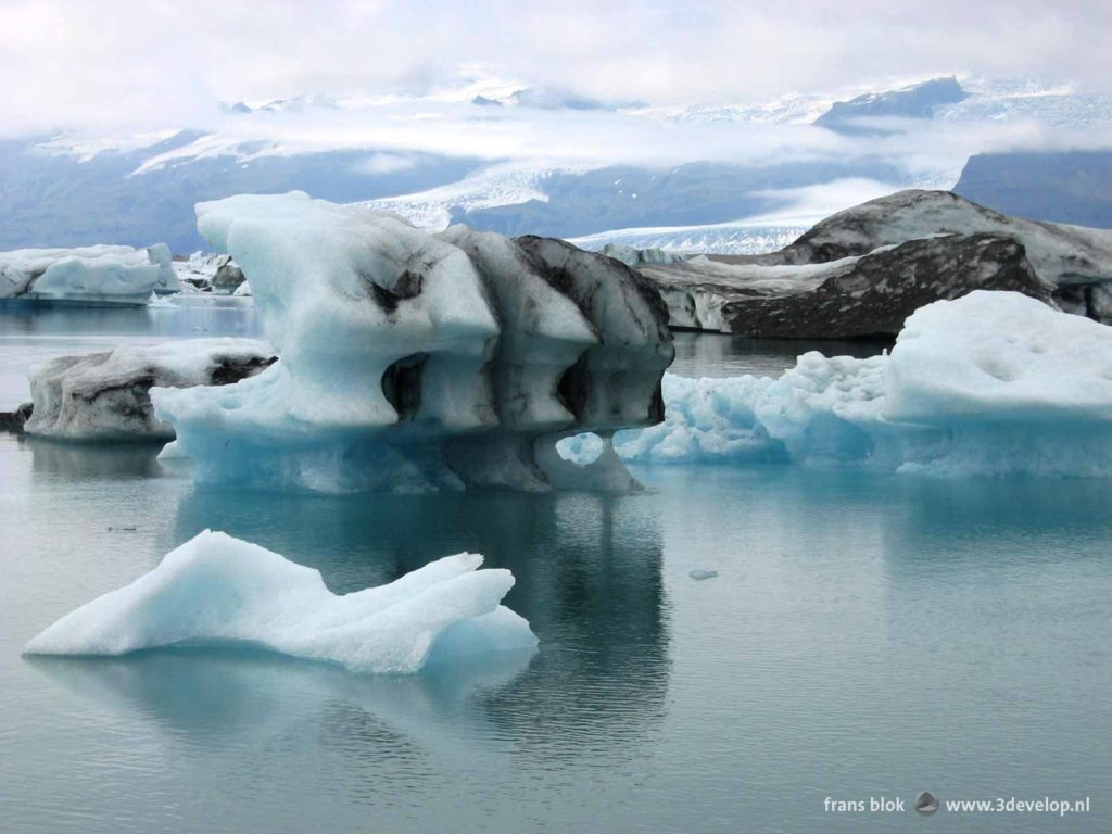 Floating chunks of melting ice in the Jokulsarlon ice lake in southern Iceland