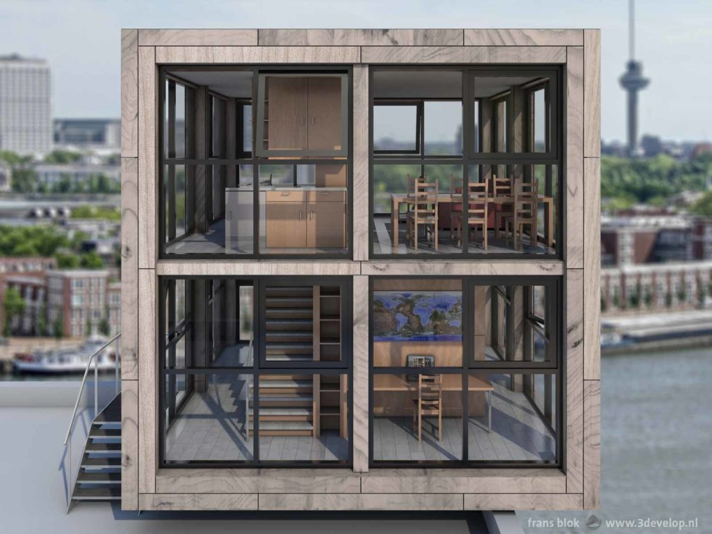 Front view of a cube-shaped tiny house on a fictional rooftop in Rotterdam with in the background the skyline including the Euromast