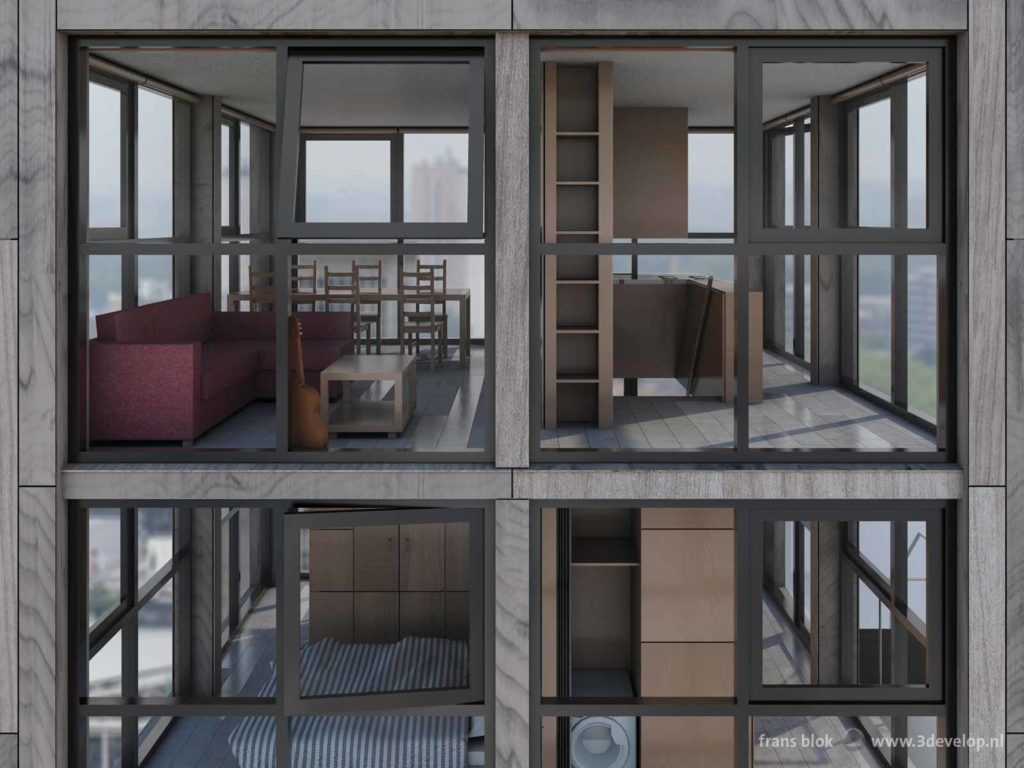 A view through the windows of a compact cube-shaped rooftop house, towards living room and sleeping room