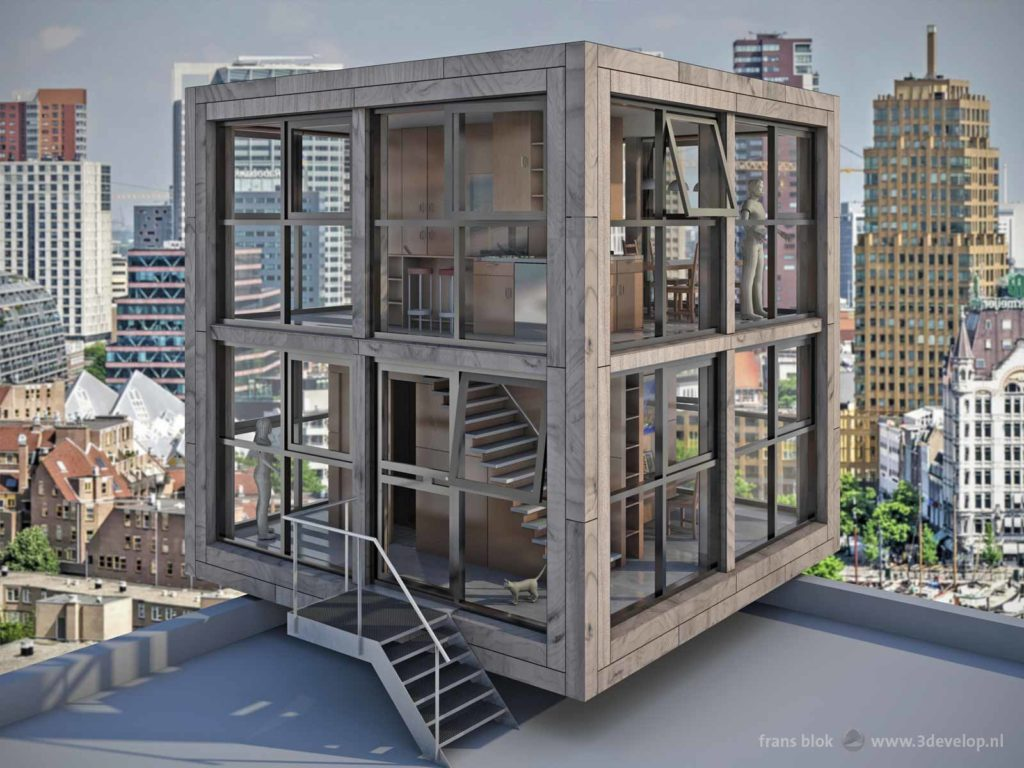 A compact cube-shaped house with a glass and wood facade, located on a high rooftop with a fictional Rotterdam skyline in the background