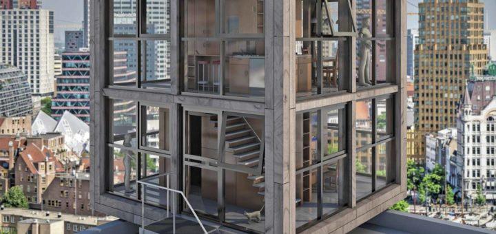 Een compacte kubusvormige woning met een gevel van hout en glas, geplaatst op een hoog dak met een fictieve Rotterdamse skyline op de achtergrond