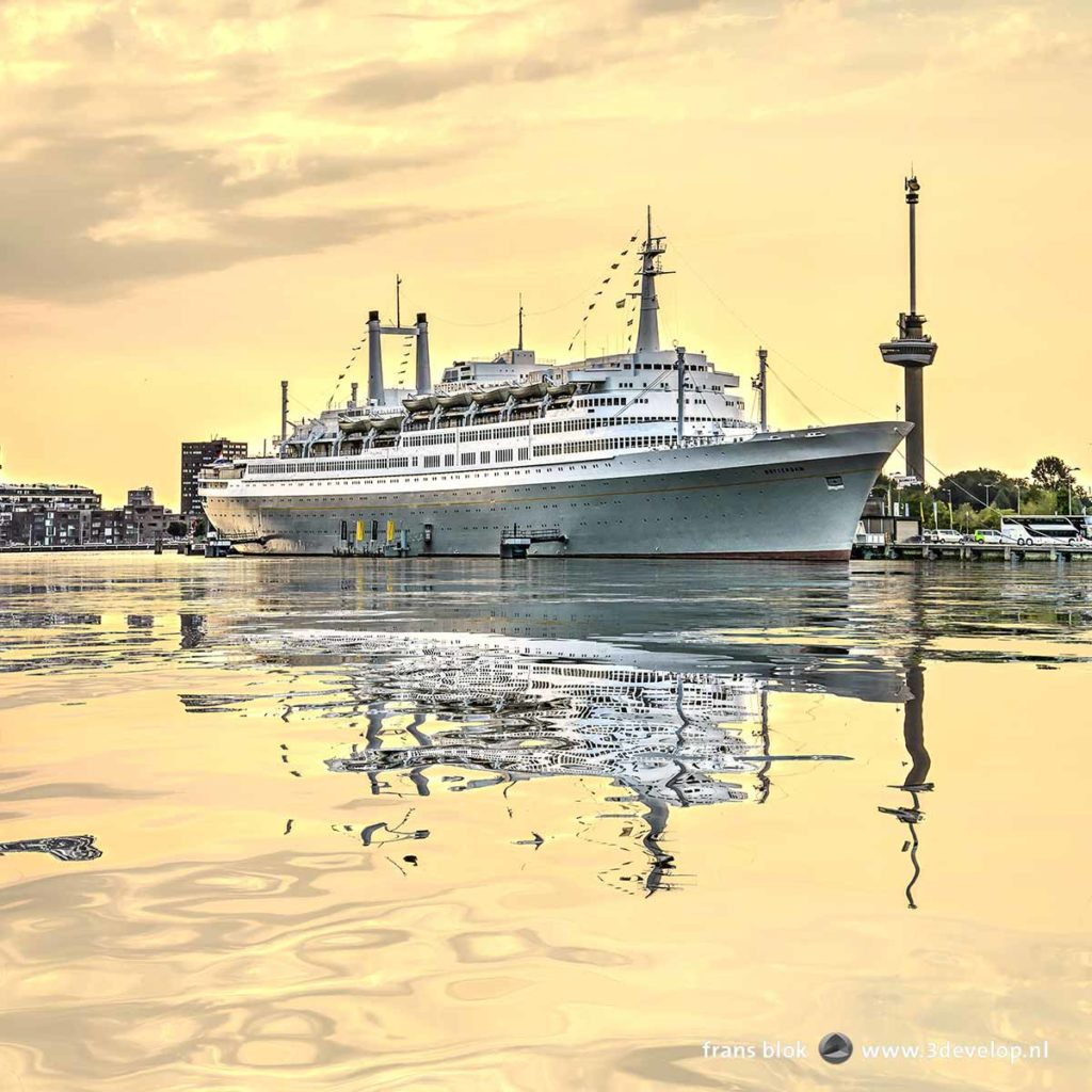 Former cruiseship SS Roterdam and the Euromast observation tower, reflecting in the digitally enhanced water of Maashaven harbour
