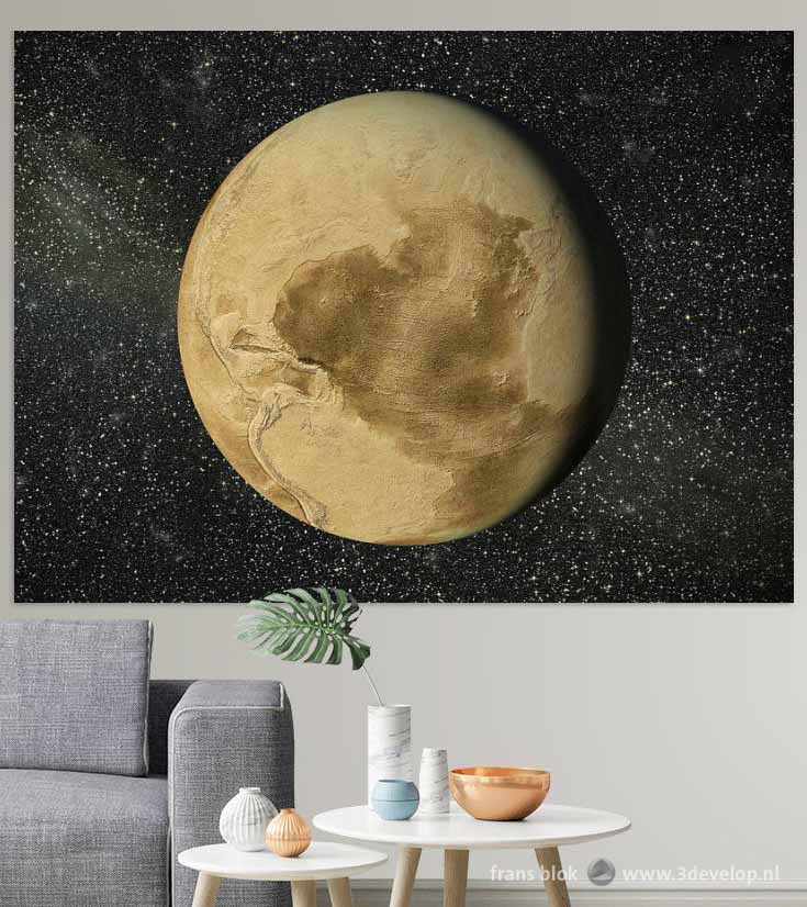 The Dry Earth by Frans Blok, as a print on the wall in a fictional living room