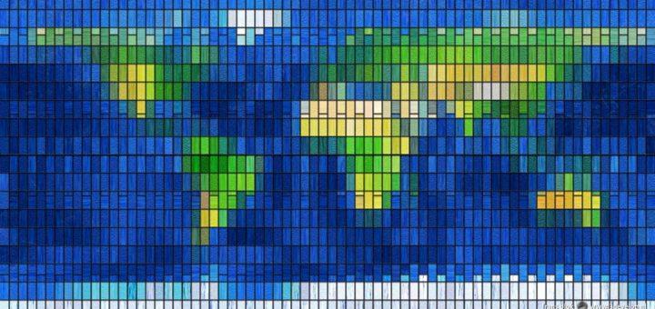 Eine digital erstellte Weltkarte aus 1440 farbigen virtuellen Glasstücken
