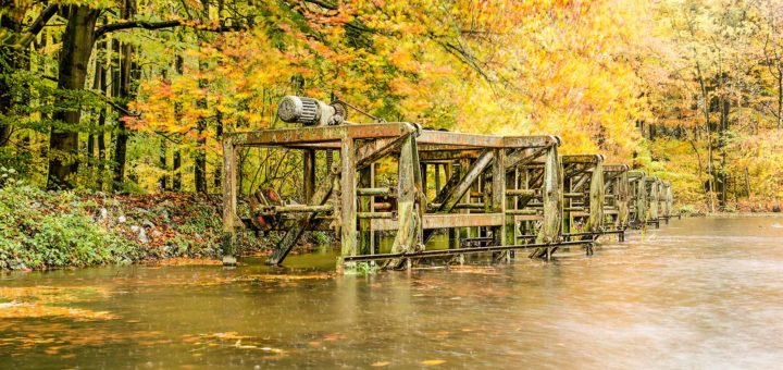 Rusty old installations in a pond, in the Waterloopbos (Hydraulic Forest) in the Dutch North East Polder on a rainy day in autumn