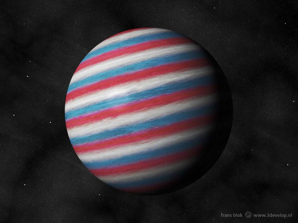"""Artist impression of the """"Dutch"""" planet Nachtwacht (Night Watch) as a red, white and blue gas giant"""