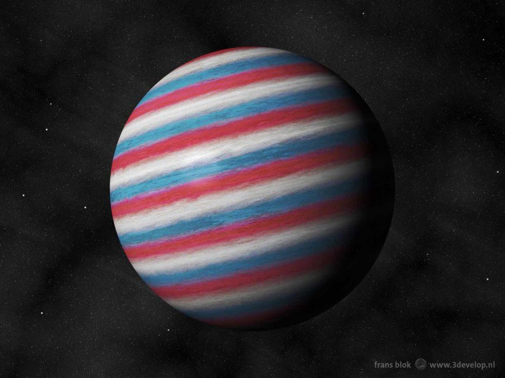 """Artist impression van de """"Nederlandse"""" planeet Nachtwacht als rood-wit-blauwe een gasreus, op 910 lichtjaar van de Aarde in een baan om de ster Sterrennacht"""