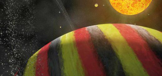 """Artist impression van de """"Belgische"""" planeet Nervia, geportretteerd als een zwart-geel-rode gasreus, met enkele manen, een ring en de ster Neburonia"""