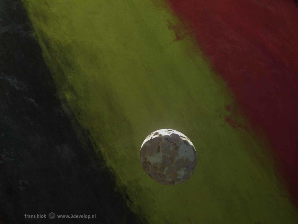 """Artist impression van een de maantjes van de """"Belgische"""" planeet Nervia, geportretteerd als een zwart-geel-rode gasreus"""