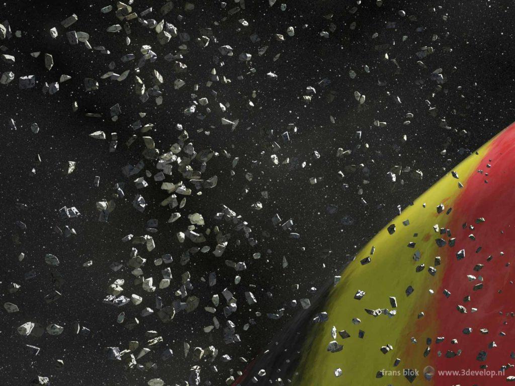 """Detail van een artist impression van de """"Belgische"""" planeet Nervia, geportretteerd als een zwart-geel-rode gasreus met een ringenstelsel"""