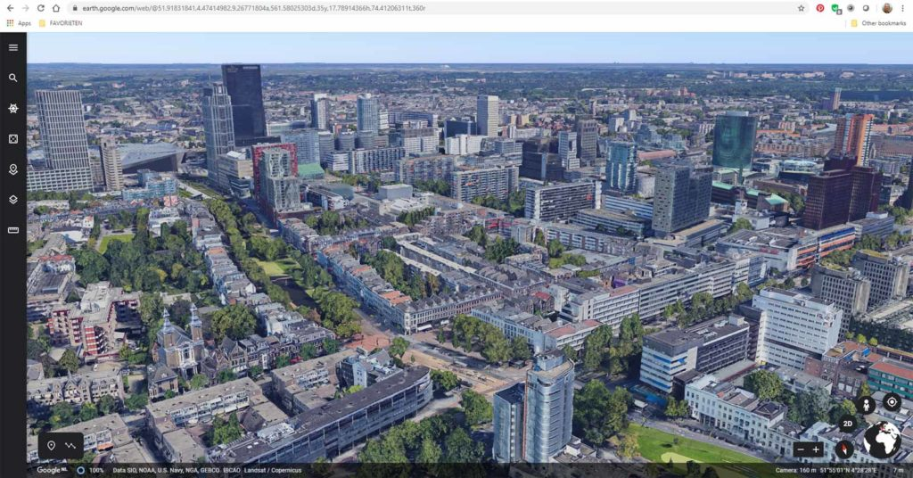 Screenshot of the webversion of Google Earth, with 3d buildings in downtown Rotterdam, The Netherlands