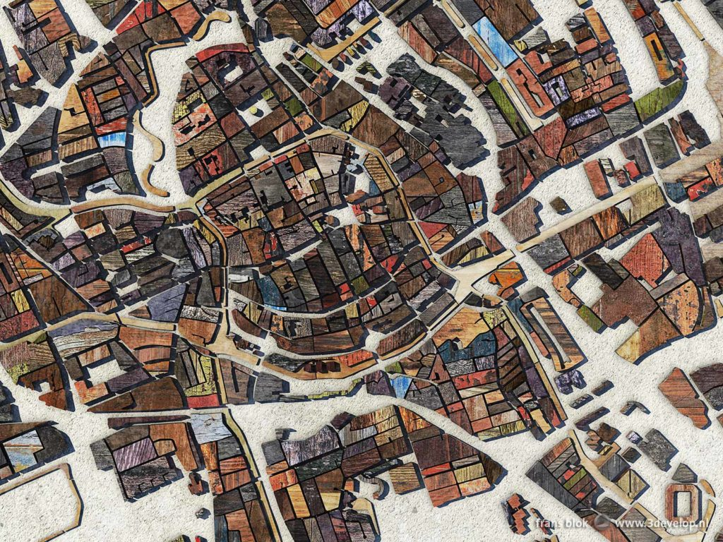 Detail of a map of the city of Groningen, The Netherlands, made of blocks of (digital) scrapwood