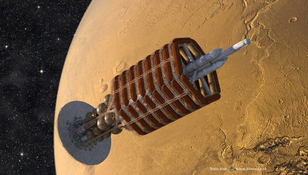 The Ares, the spaceship on which the First Hundred travelled to Mars in Kim Stanley Robinson's Mars trilogy, arrives in orbit around the Red Planet