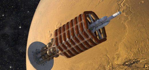De Ares, het ruimteschip van de First Hundred uit de Mars-trilogie van Kim Stanley Robinson, komt aan in een baan om de Rode Planeet