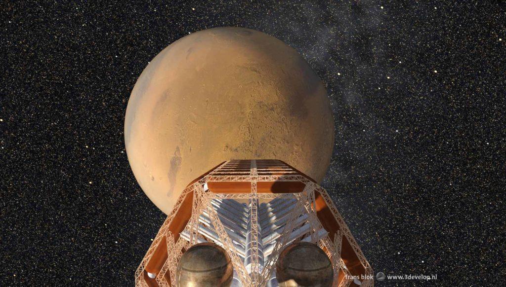 De Ares, het ruimteschip van de First Hundred uit de Mars-trilogie van Kim Stanley Robinson, tegen een achtergrond met Mars en de sterren