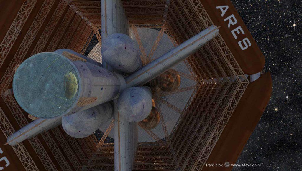 Close-up van de Ares, het ruimteschip van de First Hundred uit de Mars-trilogie van Kim Stanley Robinson