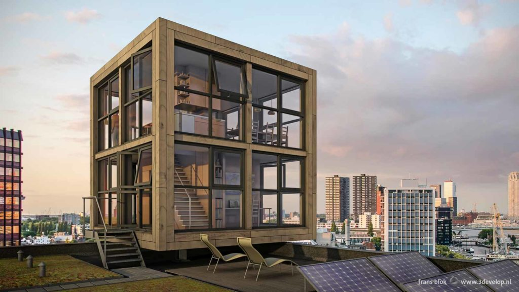 Blocks Block, a compact and sustainable tiny house XL with a breathtaking view of Rotterdam, The Netherlands