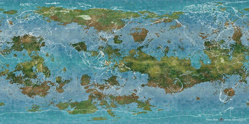 World map comparing the size of continents on Earth and on a terraformed Venus