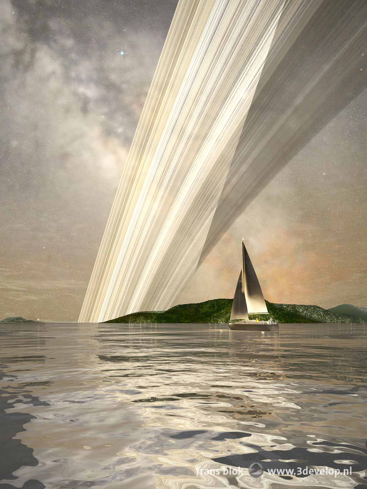 A small yacht is sailing on a calm sea on the terraformed planet Venus by the light of the Rings