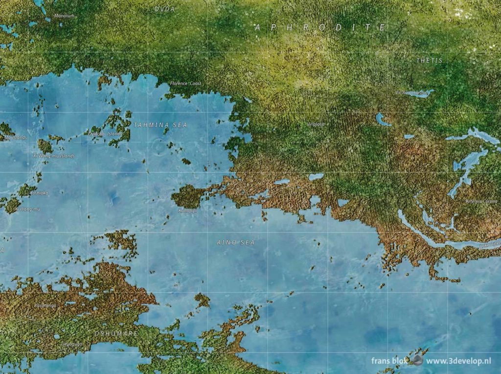 Detail of a world map of the planet Venus in a remote future, after terraforming, with the southern part of the Aphrodite continent