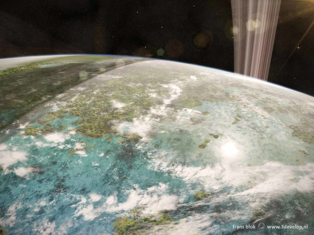 View from a space station in orbit around Venus, in a remote future, after terraforming the planet