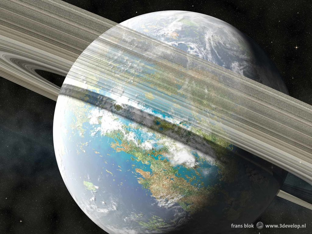 Artist impression of the planet Venus in a remote future after terraforming, with oceans and continents, cloud patterns and an impressive ring system