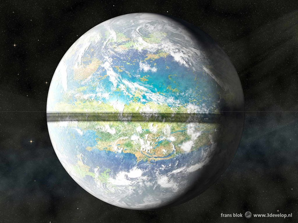 Artist impression of the planet Venus, terraformed and equipped with a Saturn-style ring system, casting a shadow on the equatorial regions