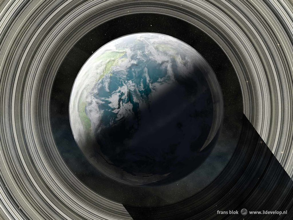 Top view of the planet Venus in a remote future, with an atmosphere, oceans, clouds and a Saturn-like ring system