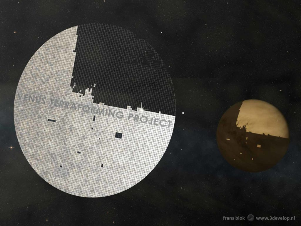 Giant sunshade under construction as part of the Venus Terraforming Project, with the partly darkened planet Venus itself in the background