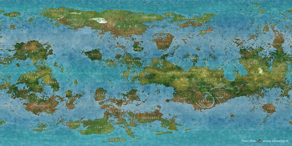 World Map of the planet Venus in a remote future, after terraforming, with two continents and a multitude of islands and other land masses