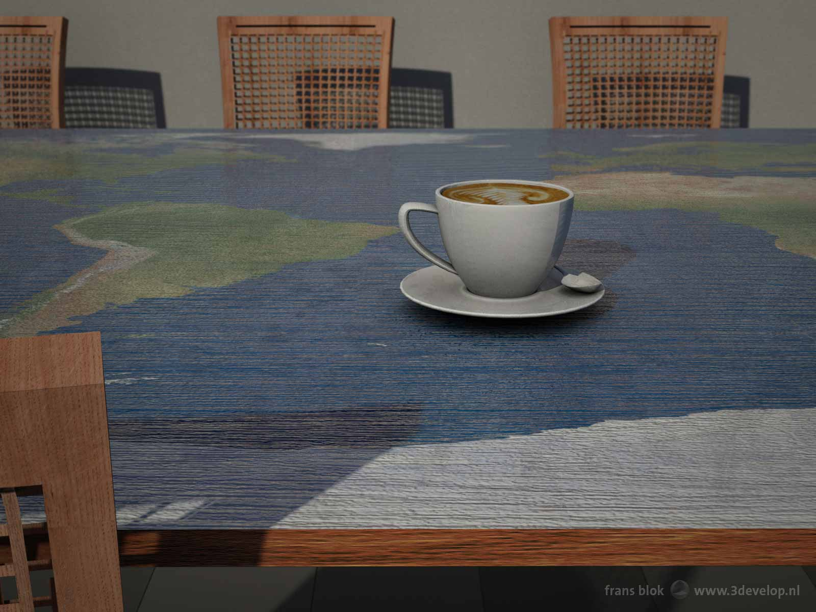 De Platte Aarde-tafel: een houten eetkamertafel met een print van de wereldkaart, hier afgebeeld met een kopje koffie