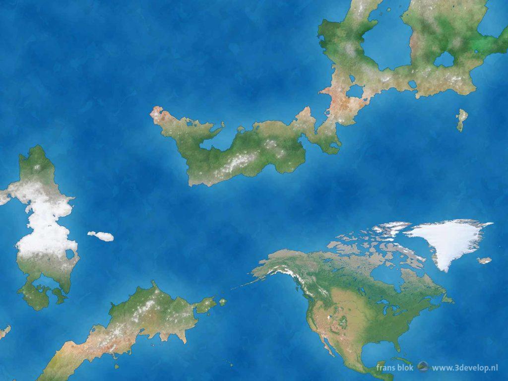 Detail van een wereldkaart van een hypothetische eindeloze platte Aarde, met Noord-Amerika en een aantal continenten in het westen en noorden