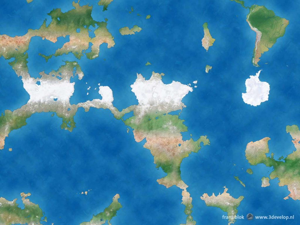 Detail van een wereldkaart van een hypothetische eindeloze platte Aarde, met Zuid-Amerika, Antarctica en een aantal continenten in het westen en zuiden.